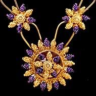 Floral silver designer mala