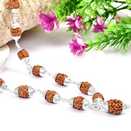 3 mukhi Agni mala in silver with designer cap..