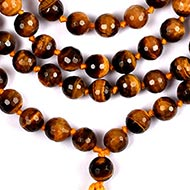 Tiger eye faceted round mala - 8 mm