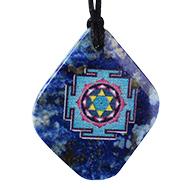 Saraswati Yantra Pendant on Lapis Lazuli