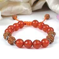 Orange Carnelian and Rudraksha Beads Bracelet