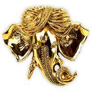 Ganesha Face in Brass - Wall Artifact