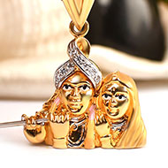 Radha Krishna Locket in pure Gold - 4.33 gms