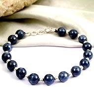 Blue Sapphire Bracelet with silver balls - Round