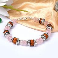 Rudraksha and Rose Quartz Bracelet - II