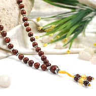 Yellow Citrine and Red Sandalwood beads Mala