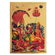 Vishnu Laxmi with Brahma Photo in Golden Sheet - Large