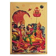 Vishnu Laxmi with Brahma Photo in Golden Sheet - Large