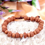 9 mukhi Durga bracelet from Java with Sandalwood beads