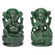Divine Pair of Ganesh Laxmi in Natural Jade - I