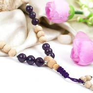 Faceted Amethyst and Tulsi beads Mala