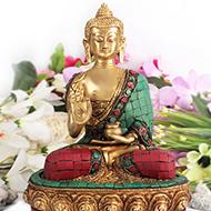 Buddha Staue with Stone Decoration - III