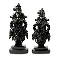 Lord Vitthal with Rukmini Idol in Black Agate