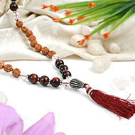 Red tiger Eye and Sphatik with Rudraksha Beads Mala