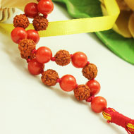 Rudraksha and  Coral mala in thread