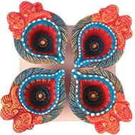 Ganesh Laxmi Diwali Earthen Diyas - Set of 4