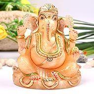 Exotic Ganesh Idol in Yellow Jade - 520 gms
