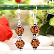 Earrings of Semi chikna Rudraksha Beads - Design I