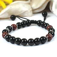 Black Agate and Red sandalwood Bracelets