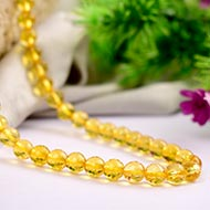 Citrine Mala - Round Faceted Beads - 7 mm