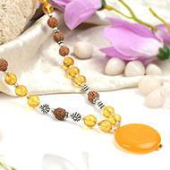 Yellow Citrine and Rudraksha beads Mala