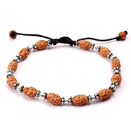 2 mukhi Moon bracelet from Java with silver balls and chakri