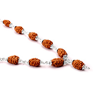 2 mukhi Moon mala from Java with silver caps - 14mm