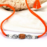 2 mukhi Rakhi Pearl beads with pure silver bracelet and accessories in thread