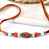 2 mukhi Rakhi Pearl Coral beads with pure silver bracelet and accessories in thread