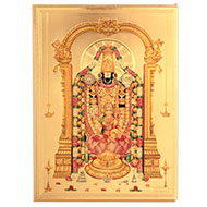 Tirupati Balaji with Laxmi Photo in Golden Sheet - Large