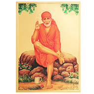 Sri Sai Baba Photo in Golden Sheet - Large