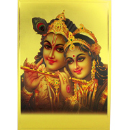 Radha Krishna Photo in Golden Sheet - Large II