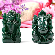Ganesh Laxmi Pair in Natural Green Jade-II