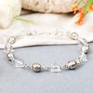 Parad and Sphatik bracelet in silver