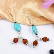 Rudraksha and Turquoise Earring - I