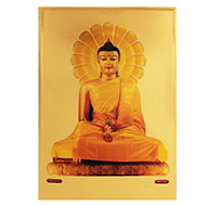 Lord Gautam Budha Photo in Golden Sheet - Large