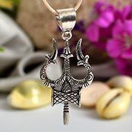 Trishul with Damru Locket in pure silver