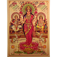 Ganesh Lakshmi Saraswati with Subh Labh Photo in Golden Sheet - Large