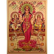 Ganesh Lakshmi Saraswati with Subh Labh Photo in Golden Sheet - Large