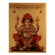 Lord Turban Ganesha Photo in Golden Sheet - Large