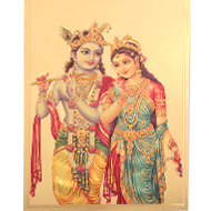 Radhe Krishna Photo in Golden Sheet - Large I