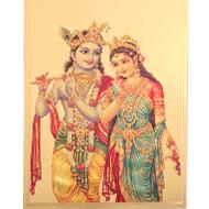 Radhe Krishna Photo in Golden Sheet - Large I
