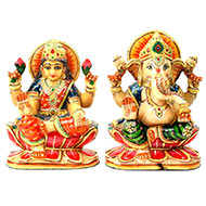 Divine Pair Ganesh Laxmi in Yellow Jade