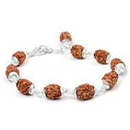 3 mukhi Mahajwala bracelet from Java with plain silver caps