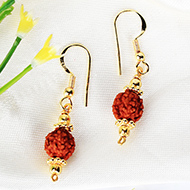 Rudraksha and Gold Earring Set with Gold Chak..