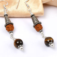 Tiger Eye and Rudraksha Earring - I