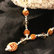 4 mukhi Java mala with Citrine beads in flowe..