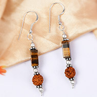 Tiger Eye and Rudraksha Earring - II