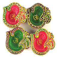 OM Design Diwali Earthen Diyas - Set of 4