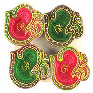 OM Design Diwali Earthen Diyas - Set of 4
